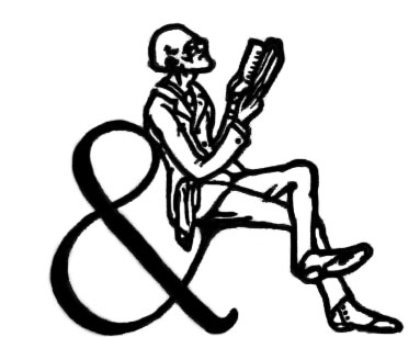 A man sits on an ampersand, holding a book that he is reading